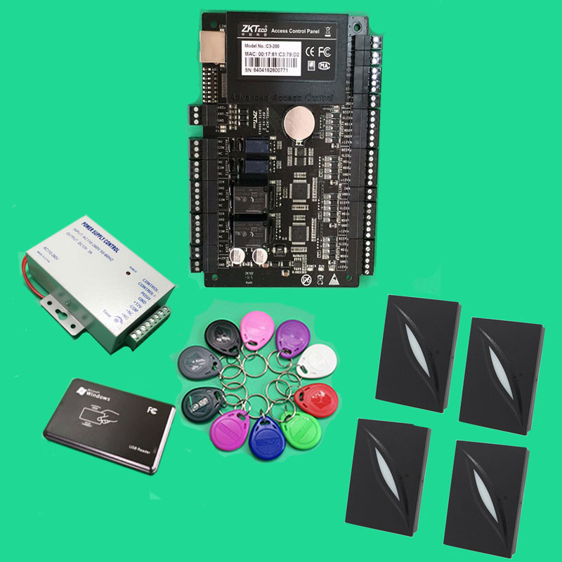Two Door Access Control Panel Access Control Panel Kit Tcp/ip Network C3 200 Intelligent + 4 PCS KR101E Wiegand Slave Reader
