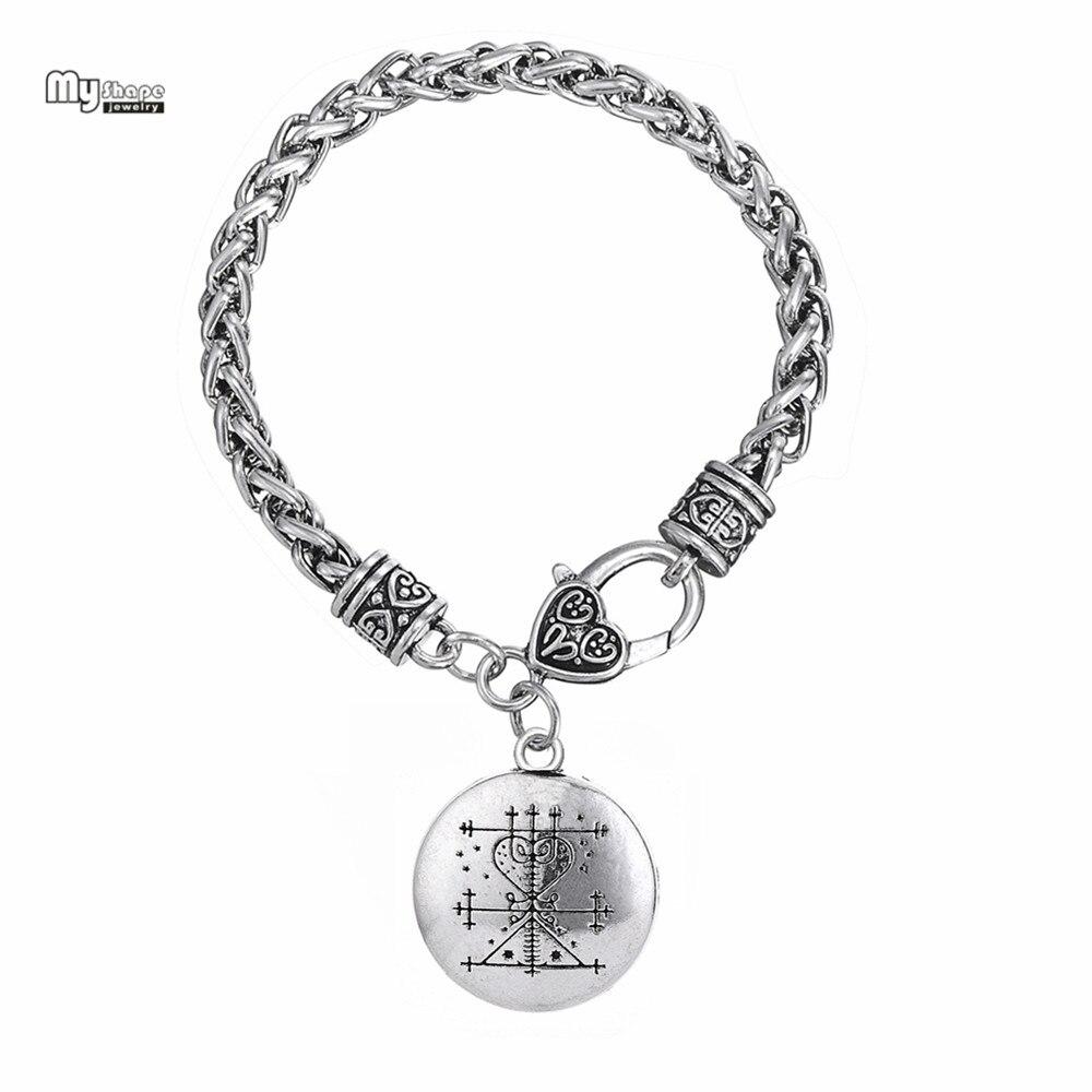 My Shape Love Talisman Chain&Charms Bracelet Ezili Freda Voodoo Loa Veve Hand Stamped Vodoun Hoodoo Amulet Bracelets Bangles