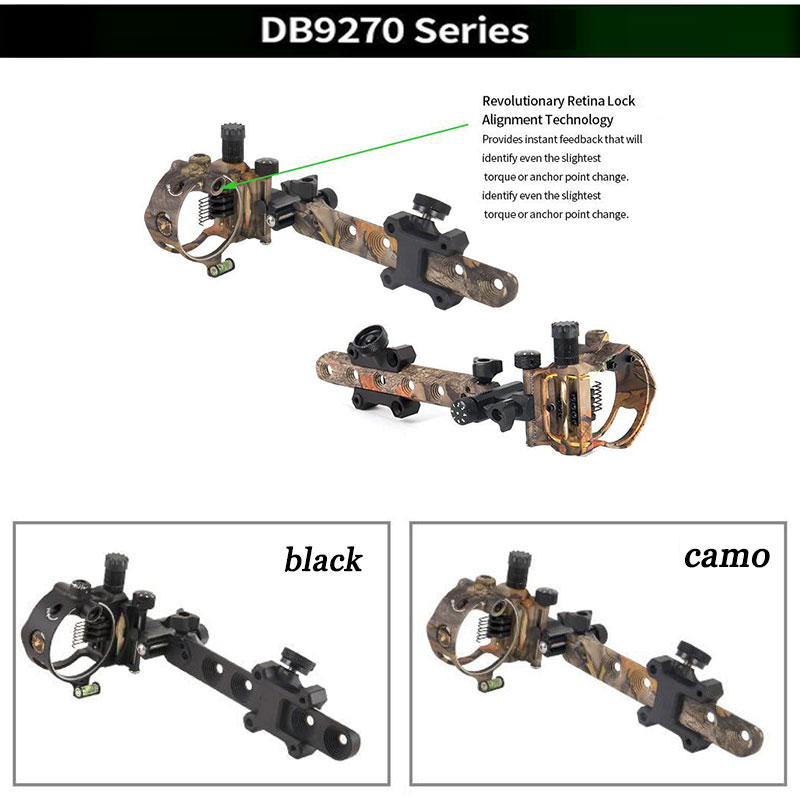 Archery Compound Bow Sight DB Series Retina Micro Adjust Sight 0.019 Fiber Optic 5 pins /7 pins Hunting Shooting Accessories-in Bow & Arrow from Sports & Entertainment