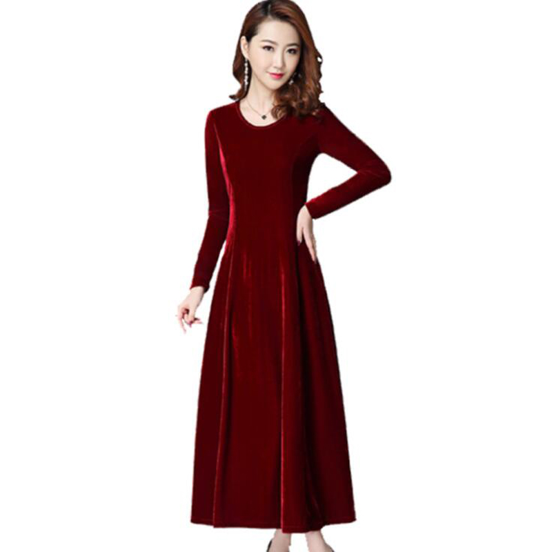 14f194f8d2 US $28.05 47% OFF|Autumn Winter Women Dress 2018 New Fashion Long sleeved O  Neck Big swing Party Dress Slim Large size Gold Velvet Dress Women K27-in  ...
