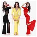 Новый стиль костюм танец Живота установить сексуальный молоко шелковый топ + талии брюки 2 шт./костюм для женщин живота танец устанавливает 6 видов цветов