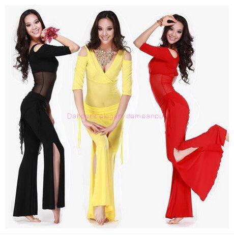 Nieuwe stijl buikdans kostuum set sexy melk zijde top + taille broek 2 stks / pak voor vrouwen buikdans sets 6 soorten kleuren