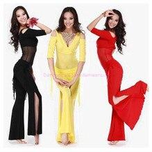 Nouveau style danse du ventre ensemble de costumes sexy lait soie haut + taille pantalon 2 pièces/costume pour les femmes danse du ventre ensembles 6 types de couleurs