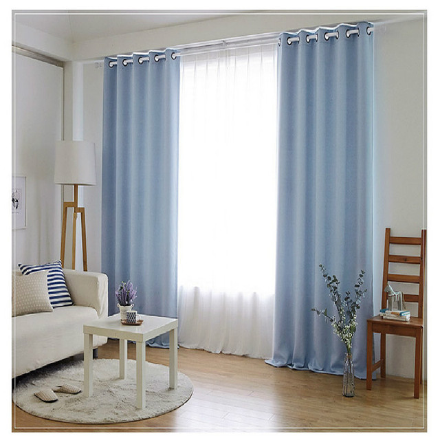 Bedroom Curtains Simple Solid Color Custom Finished Curtain Shade Blinds  For Room Grey Blue Beige Brown