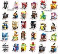 4 компл./лот ABS Мини модуляры Конструкторы Street Store модель серии смешанные раннее образование игрушечные лошадки для Lego Building Block