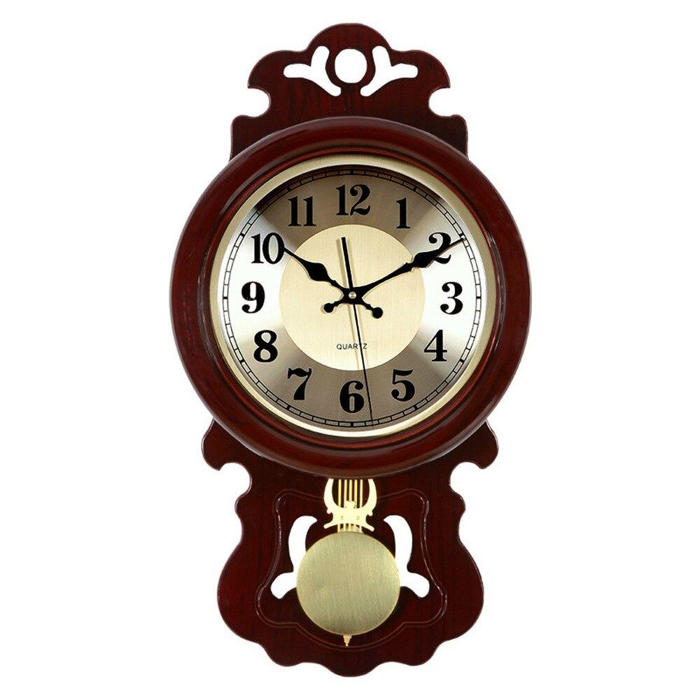 1 pièces chinois horloge murale salon rétro horloge muet tenture murale table bois balançoire style chinois horloges de ménage LU614549