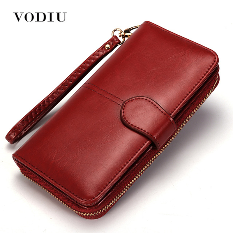 Women Wallet Female Purse Women Leather Wallet Long Trifold Coin Purse Card Holder Money Clutch Wristlet Multifunction Zipper(China)
