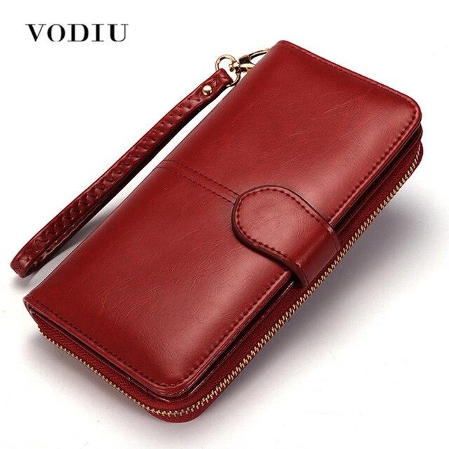 d06b9662375e Женский кошелек женский кожаный бумажник длинный Trifold кошелек для монет  держатель для карт Money Clutch Wristlet