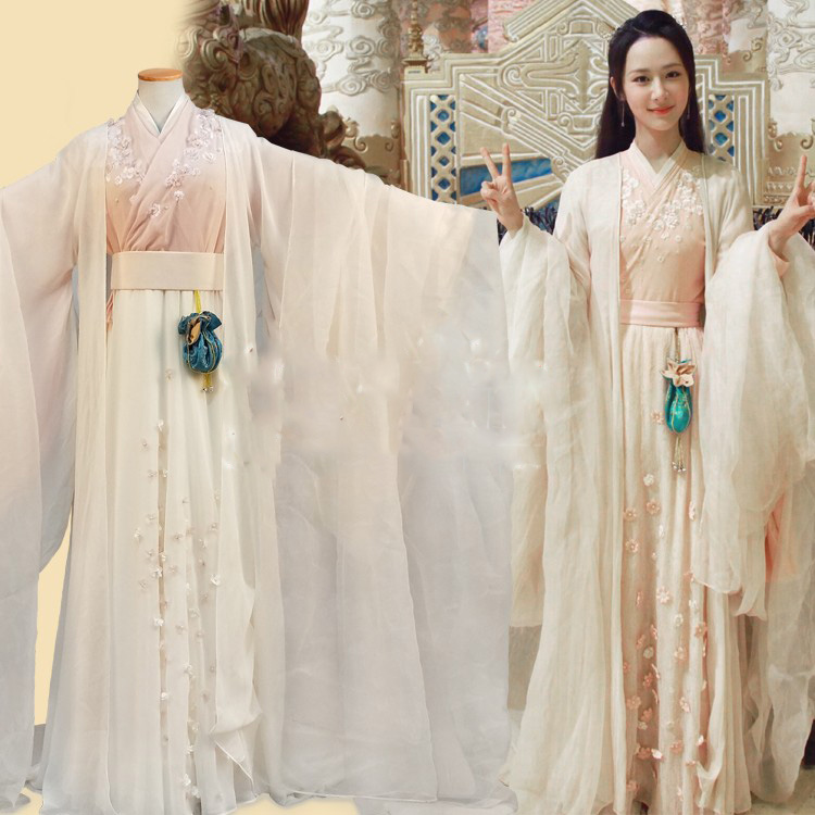 4 design Actress JinMi Pink Fairy Costume for Newest TV Play Xiang Mi Chen Chen Jin Ru Shuang Female Costume Hanfu Fairy Costume pocket