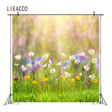 Laeacco Green Spring Flower Floret Grass Shine Wallpaper Scenic Photographic Backgrounds Photography Backdrops For Photo Studio shine ring sr28 green