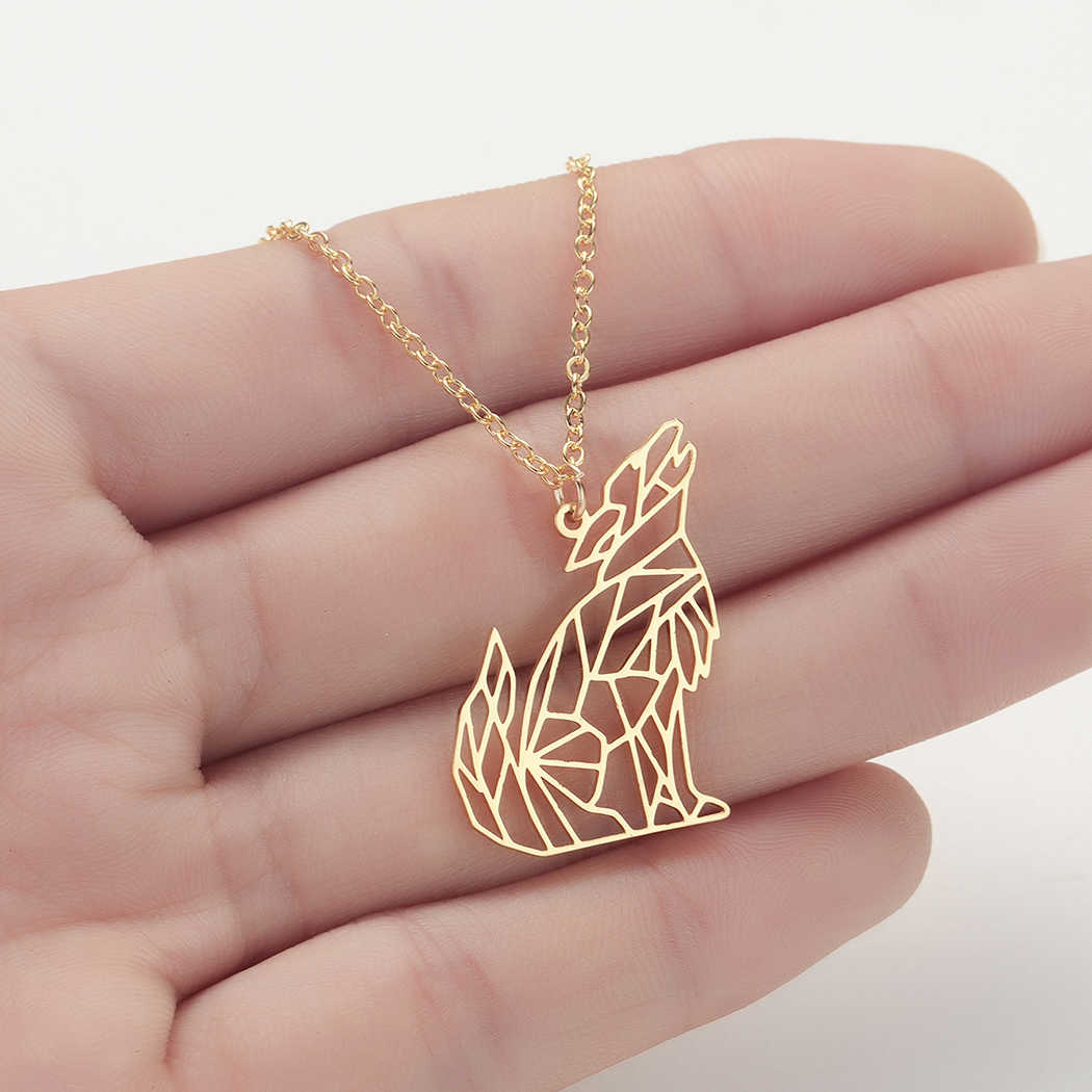 Origami Wolf Animal Pendant Necklace For Women Men Stainless Steel Jewelry Howling Wolf Necklace Mickey Necklaces Male Gift