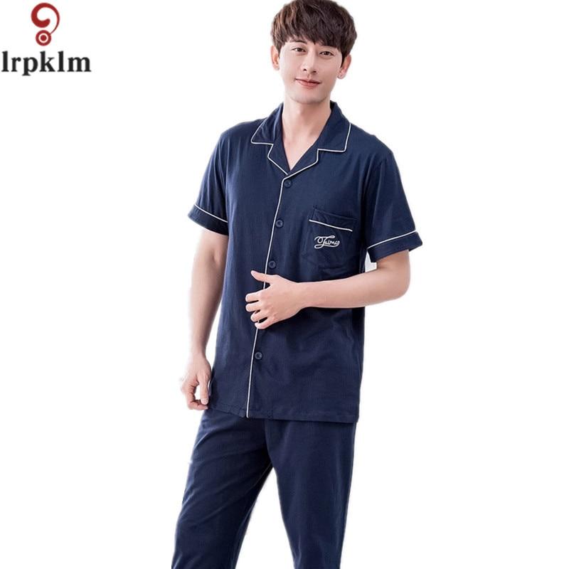 Pajama Sets Men Spring 2017 Summer Male Sleepwear Short Sleeve Length Pants Cotton Cardigan Lounge Set Plus Size XXXL SY661