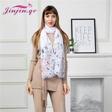 Jinjin.QC New Line Fashion Women Scarves Soft Wraps Artistic Abstract Printing Chiffon Exquisite Shawls Elastic Wrap