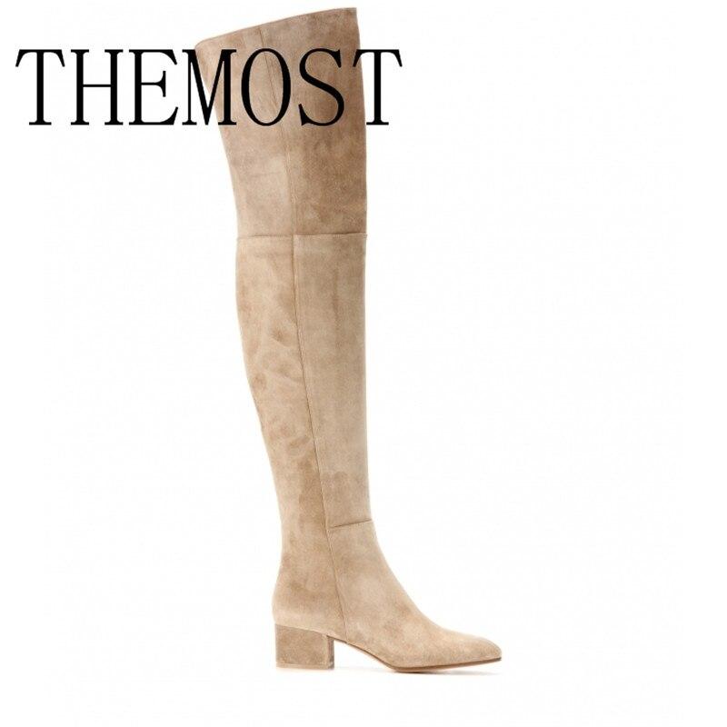 ARQA Europe et les états-unis automne et hiver marque de mode femmes défilé de mode bottes de luxe extra cachemire genou bottes