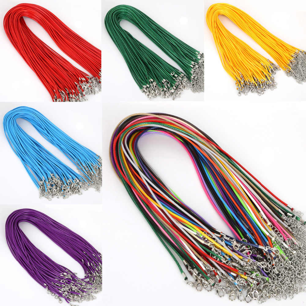 10 Pcs/lot 2 mm Real Leather Handmade Adjustable Braided Rope Necklaces & Pendant Charms Findings Lobster Clasp String Cord