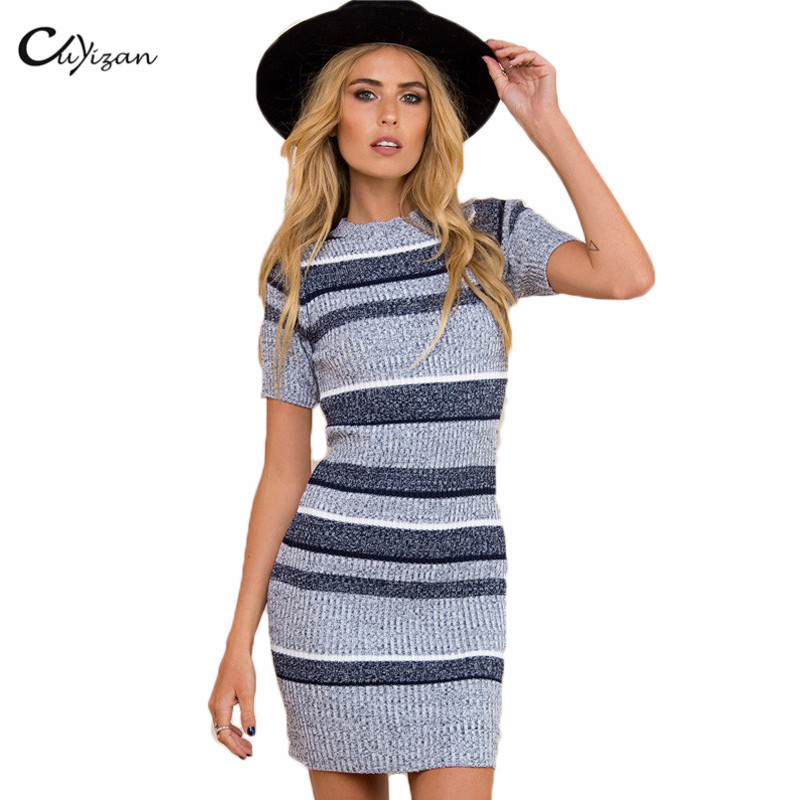 Cuyizan Autumn women dress 2016 Sexy slim sweater dress Winter Elastic Skinny Knitted dress casual women clothing vestidos