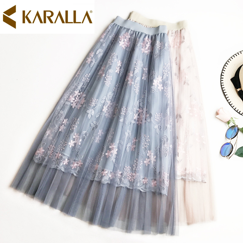 Hot Sale Quality Floral Embroidery High Waist Sweet Skirt Women Vogue Mesh patchwork Skirt C850