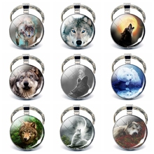 2019 Fashion Handmade Wolf Keychain Men Women Glass Cabochon Metal Gift for Boyfriend Girlfriend