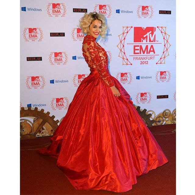 Красный Бальное платье Знаменитости Платье с Вышивкой, Высокая Шея, Рита Ора на MTV EMAs 2016 Красный Тафта Красной Ковровой Дорожке Платья Знаменитостей