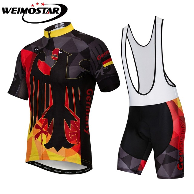 b067a1eb4 Germany Men s Summer Short Sleeve Cycling Jersey Sets Pad Bib Shorts Bike  Clothing Top Ropa Ciclismo Breathable Bicycle Clothes