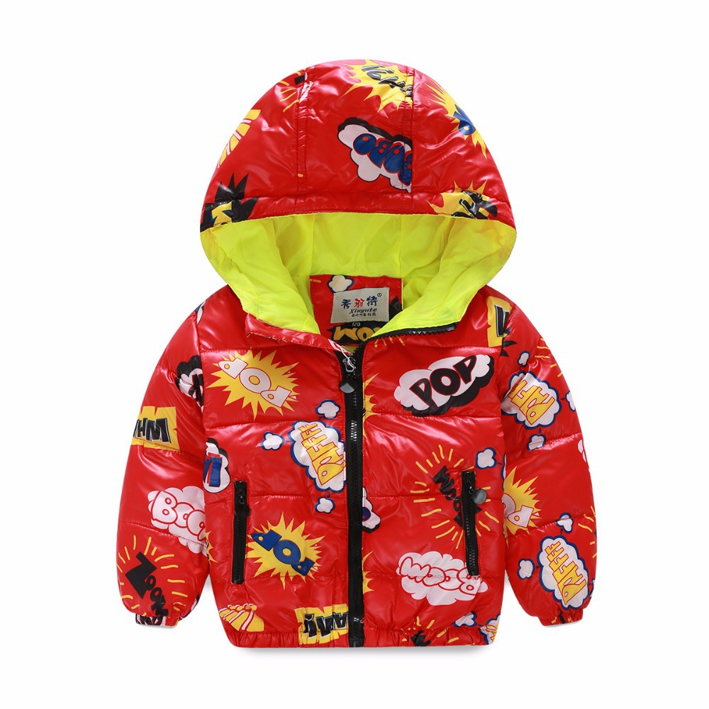 2016 new kids winter jacket thicken white duck down boys girls jackets long sleeve hooded baby outwear printed cotton coat