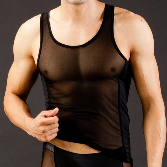 Men's Sexy Ultra-thin vest transparent Mesh See-thru tank tops Breathable work out gay
