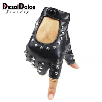 DesolDelos Women Rivets PU Leather Gloves Semi-Finger Mens Rivet Belt PU Gloves Sexy Cutout Fingerless Gloves R007 women rivets leather gloves semi finger mens rivet belt pu gloves sexy cutout fingerless gloves
