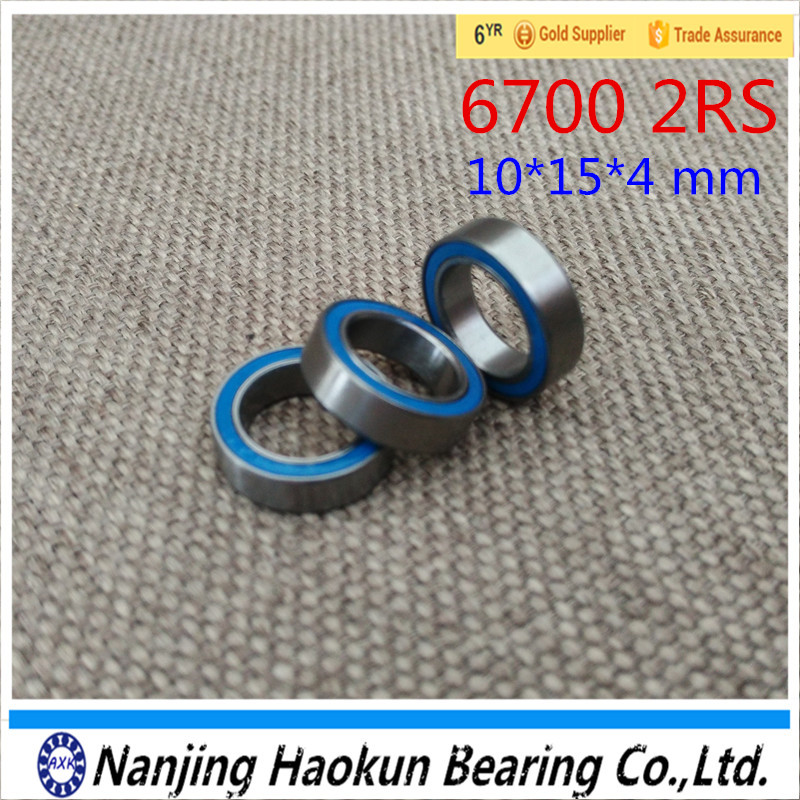 2017 Real 10pcs Free Shipping High Quality Double Rubber Sealing Cover Miniature Deep Groove Ball Bearing 6700-2rs 10*15*4 Mm free shipping 50pcs lot miniature bearing 688 688 2rs 688 rs l1680 8x16x5 mm high precise bearing usded for toy machine