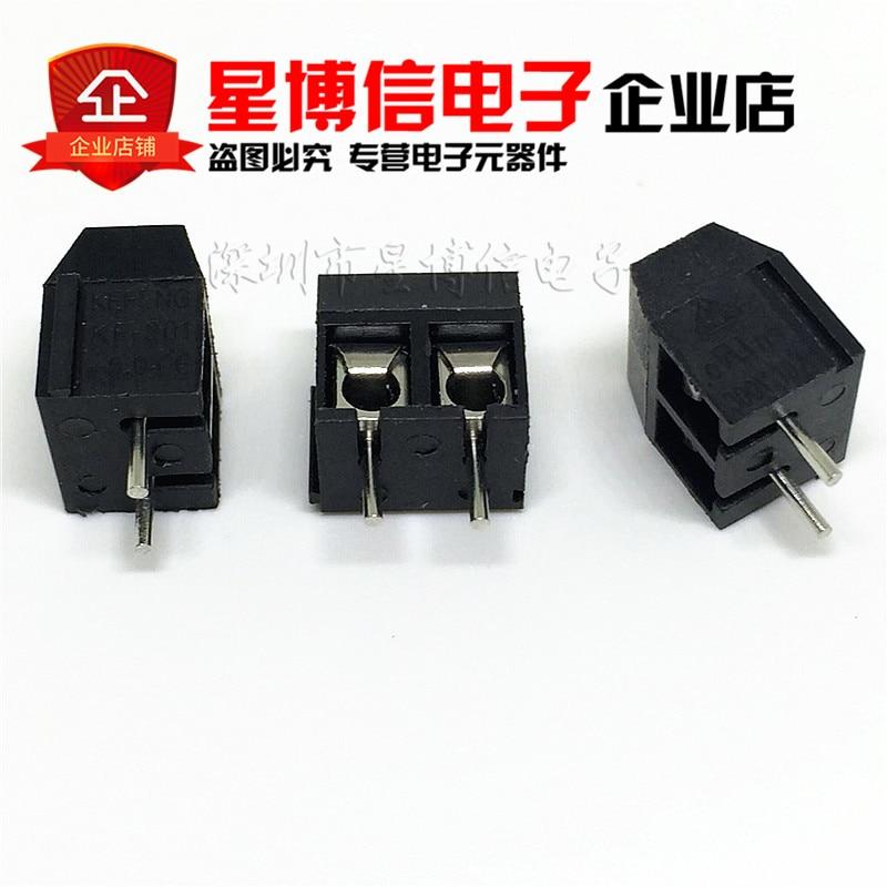 """Frete Grátis 100 pcs Preto KF301-5.0-2P KF301-2P KF301 2 p """"-"""" Parafuso 5.0mm PCB Alfinete bloco conector do Bloco de terminais ROHS"""