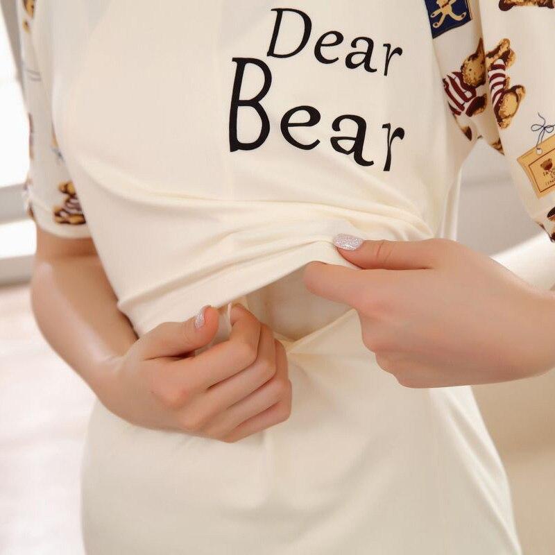 Пижамы для кормящих грудью Материнство платье для беременных пижамы Медведь Грудное вскармливание для беременных женщин милый мультфильм печати платья