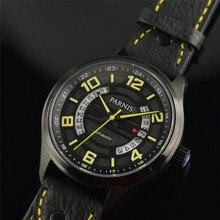 Новый Parnis Сапфир 43 мм автоподзаводом Автоматический Механизм Бизнес мужские Наручные Часы