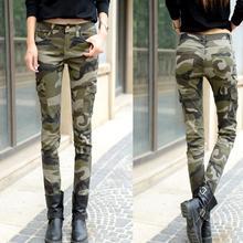 Новые модные женские узкие джинсы длинные узкие камуфляжные брюки повседневные брюки Брюки размер