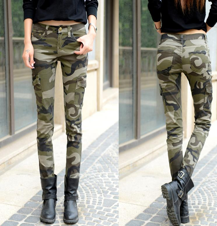 New Fashion Skinny Jeans Woman Long Pencil Camouflage Pants Casual Pants Trousers Plu Size