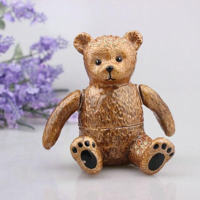 Crystal Bear Trinket Jewelry Box Collectible Cute Bear Pill Trinket