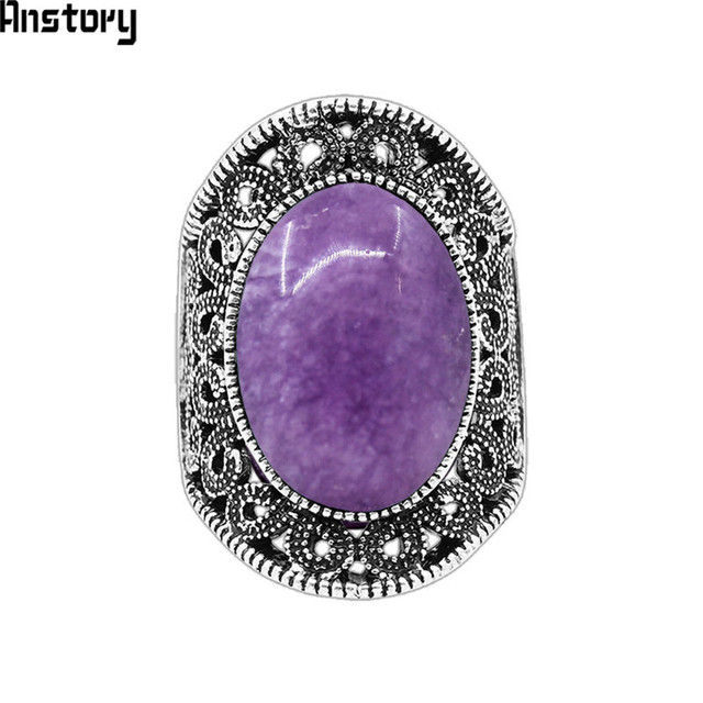 Hollow Flower Oval Natural Violet Stone Rings For Women Vintage Antique Silver P