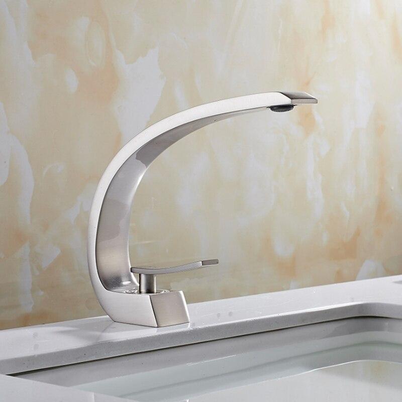 Robinets de lavabo mitigeur de salle de bain moderne robinet de lavabo en laiton mitigeur monotrou élégant grue pour salle de bain avec 2 tuyaux - 3