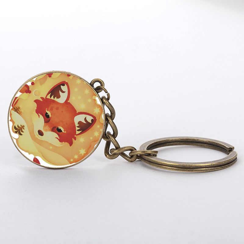 Keychain do vintage Jóias Cúpula de Vidro de Alta Qualidade Dos Desenhos Animados Anime 2 chaveiro Fox para Mulheres presente 2017 estilos