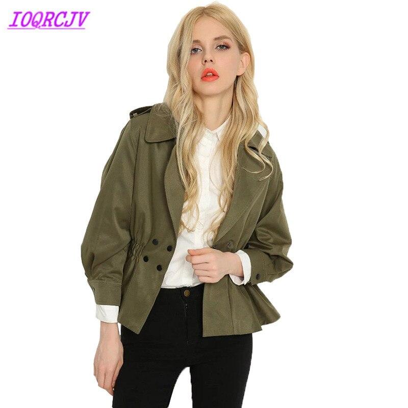Trench   for women Spring short coat 2018 Fashion solid color windbreaker Slim ArmyGreen women short overcoat Khaki IOQRCJV H278