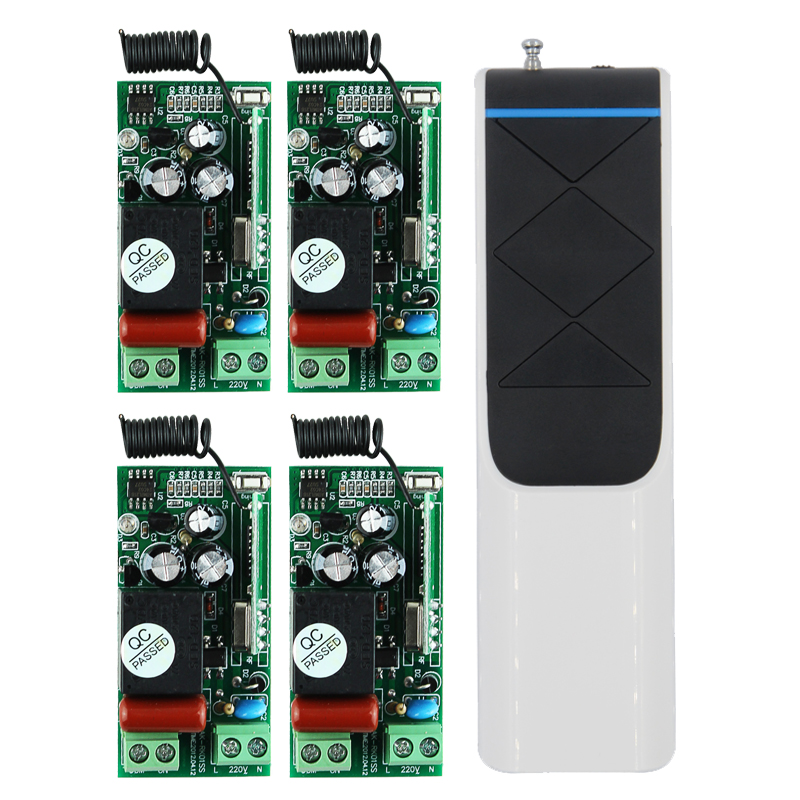 AC220V 1CH Wireless Remote Control Relay Light Switch System 4 Receiver With Long DistanceTransmitter Light Lamp LED SMD ON OFF 220v ac 10a relay receiver transmitter light lamp led remote control switch power wireless on off key switch lock unlock 315433