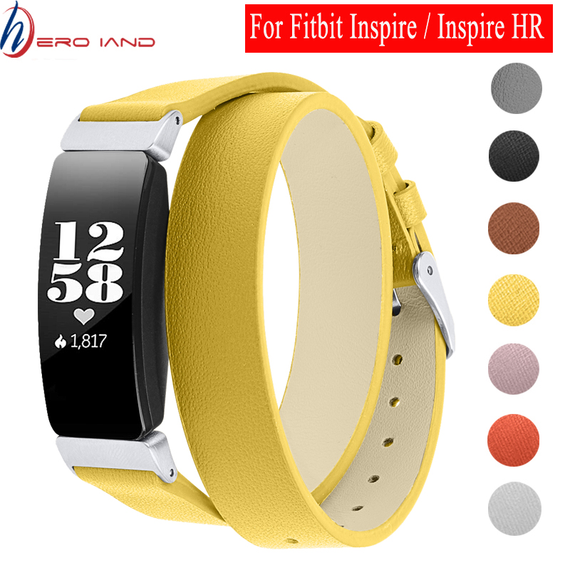 Hero Iand Genuine Leather Wristbands For Fitbit Inspire/Inspire Hr Bands Double Wrap Leather Bracelet For Fitbit Inspire Strap