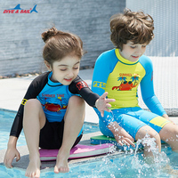 Summer Time Children Two Pieces Swimwear for Boys Girls Sand Beach Swimming Suit Coat Polyester Wetsuit Diving Clothes Animal