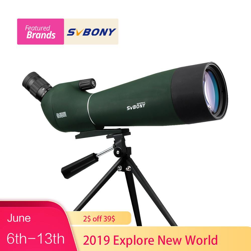 SVBONY Spotting Scope 20-60x80mm Zoom Waterproof BAK4 Angled Archery w/ Tripod Birdwatch Monocular Telescope F9308