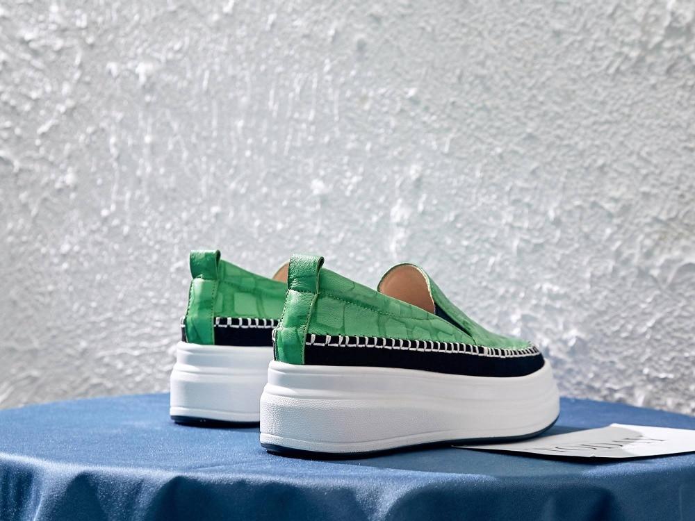 Krazing หม้อหรูหราแกะหนัง loafers toe toe ผสมสี British school ๆรองเท้า vulcanized รองเท้า L03-ใน รองเท้ายางวัลคาไนซ์สำหรับสตรี จาก รองเท้า บน   3