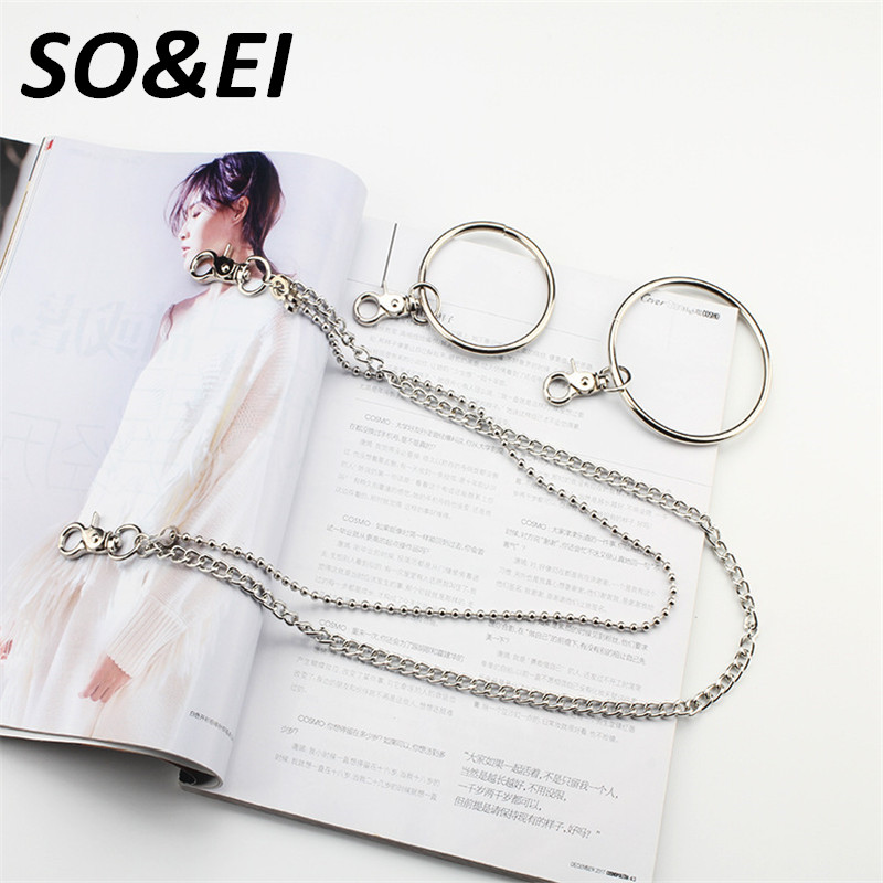 SOEI 2 Layer Metal Chain Belt Men&Women Rock Punk Hook Trouser Pants Link Belts For Women Metal Wallet Silver Chain Hip Hop Belt