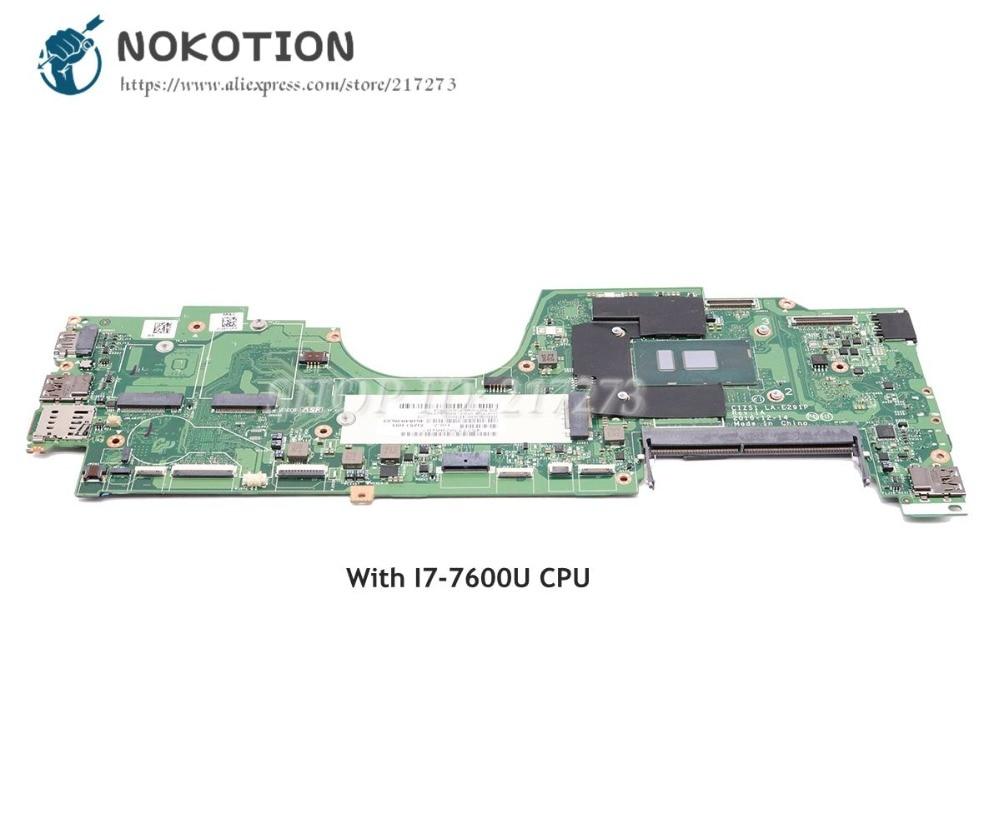 NOKOTION 01HY149 CIZS1 LA-E291P I7-7600U Principal Board Para Lenovo Yoga 270 370 Laptop Motherboard CPU DDR4