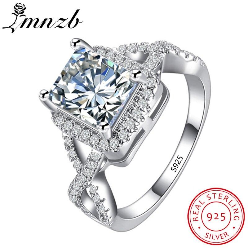 90% OFF!!! LMNZB De Luxe 100% 925 Anneaux D'argent Sterling pour les Femmes De Fiançailles Accessoire Cubique Bijoux Zircone LR065