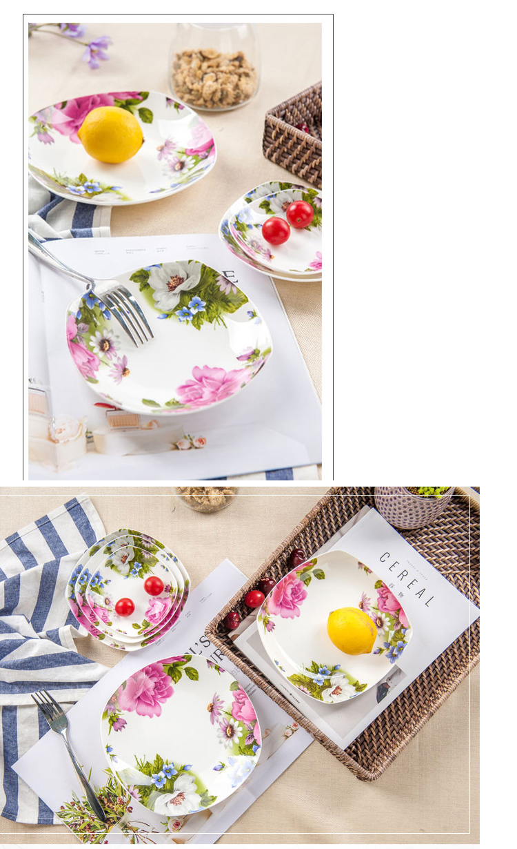 7.5 inch, bone china rectangular kitchen plates, floral beauty plate ...