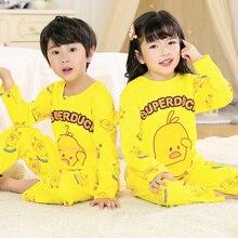 Купить с кэшбэком Yellow Children Pajamas Suit 2019 Spring Cartoon Boys Pijama Duck Long Sleeve Girls Sleepwear Fashion Pajamas Long Tops+pants