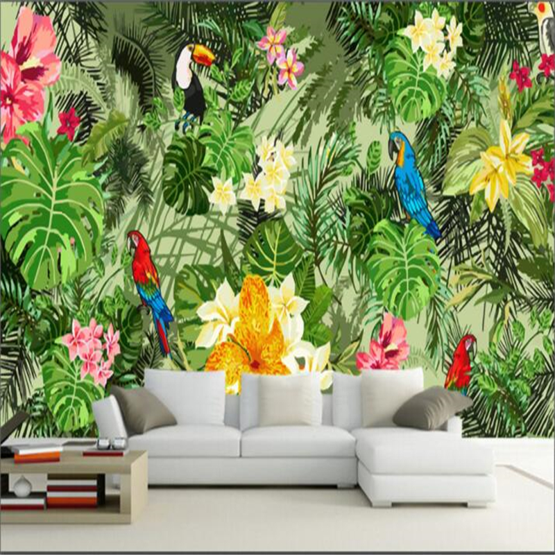 beibehang mural wall papers home decor Custom wall sticker mural parrot tropical forest tropical plant wallpaper for kids room in Wallpapers from Home Improvement