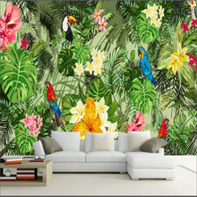 beibehang mural wall papers home decor Custom sticker parrot tropical forest plant wallpaper for kids room
